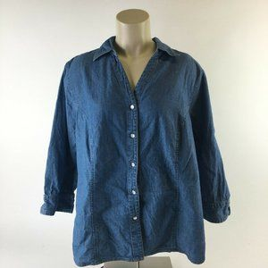 Faded Glory Authentic Denim Shirt Top Snaps Down C
